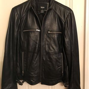 Mossimo (size M) Genuine Leather Black Jacket